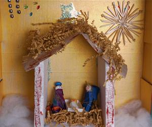 basteln im winter weihnachtslandschaft im schuhkarton ytti. Black Bedroom Furniture Sets. Home Design Ideas