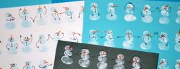 Weihnachtsbasteln, Schneemann mit Fingerstempeln basteln