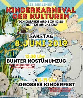 """""""23. Berliner Kinderkarneval der Kulturen 2019"""" in Berlin mit dem Motto: """"Dem Eisbären wird´s zu heiß - retten wir das Eis"""""""