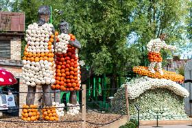 Fast alle Kürbisse, die in den Erlebnis-Dörfern zum Genießen, Schnitzen oder Bestaunen ausgestellt sind, wurden extra für Karls auf Kürbisfeldern in Brandenburg angebaut